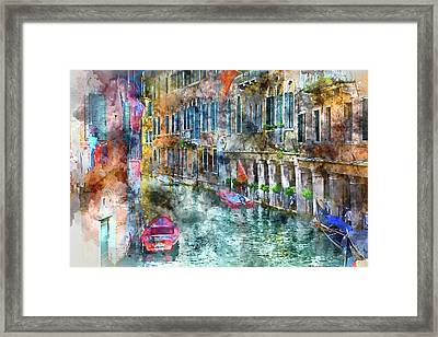 Venice Italy Canals With Boats Framed Print