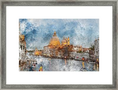 Venice Italy - Grand Canal At Dusk Framed Print by Brandon Bourdages