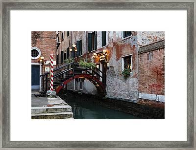 Venice Italy - The Cheerful Christmassy Restaurant Entrance Bridge Framed Print by Georgia Mizuleva