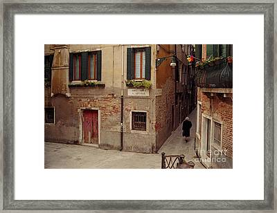 Venice Lady In Black Framed Print by Lawrence Costales