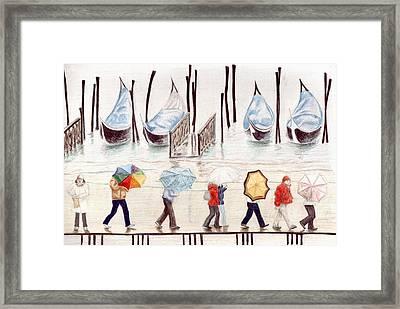 Venice Rain Framed Print by Julia Collard