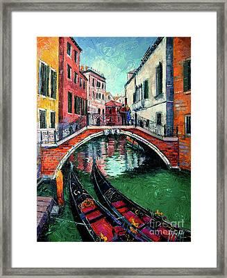 Venice Romance Impressionist Modern Palette Knife Oil Painting Cityscape Framed Print