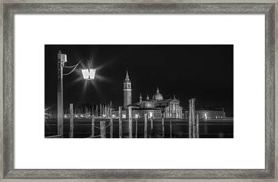 Venice San Giorgio Maggiore At Night Black And White Panoramic View Framed Print