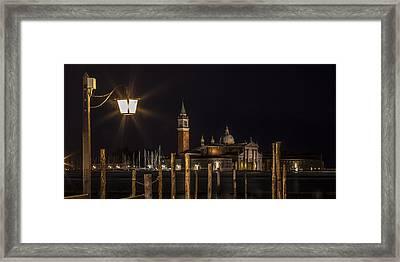 Venice San Giorgio Maggiore At Night Panoramic View Framed Print by Melanie Viola
