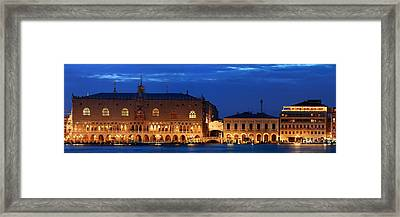 Framed Print featuring the photograph Venice Skyline At Night Panorama by Songquan Deng