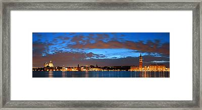 Framed Print featuring the photograph Venice Skyline Night Panorama View by Songquan Deng