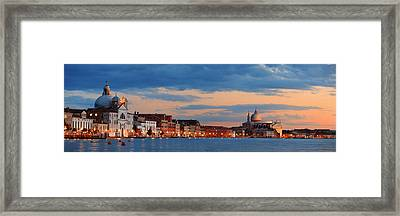 Framed Print featuring the photograph Venice Skyline Panorama At Night by Songquan Deng