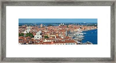 Framed Print featuring the photograph Venice Skyline Panorama Viewed From Above  by Songquan Deng