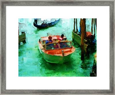 Venice Smooth Boat Ride Framed Print