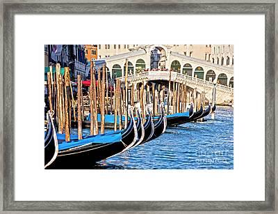 Venice Sunny Rialto Bridge Framed Print by Heiko Koehrer-Wagner