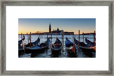 Venice Sunrise With Gondolas Framed Print by Evgeni Dinev