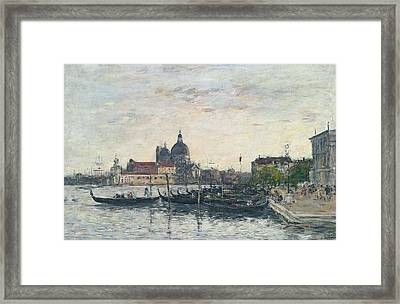 Venice, The Mole At The Entrance To The Grand Canal And The Salute, Evening Framed Print by Eugene Louis Boudin