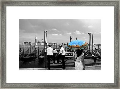 Framed Print featuring the photograph Venice Umbrella by Andrew Fare