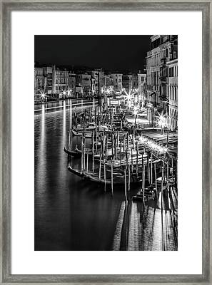 Venice View From Rialto Bridge - Monochrome Framed Print by Melanie Viola