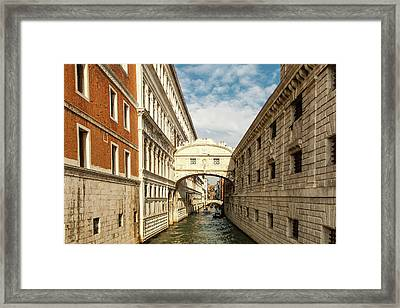 Venice's Bridge Of Sighs Framed Print by Andrew Soundarajan