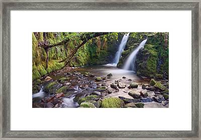 Vennford Waterfall On Dartmoor Framed Print by Pete Hemington