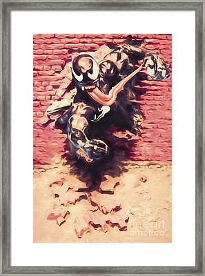 Venom Breaking Brick Wall Framed Print by Jorgo Photography - Wall Art Gallery