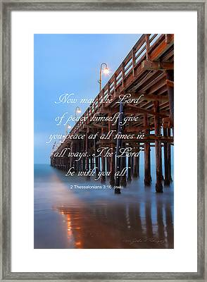 Framed Print featuring the photograph Ventura Ca Pier With Bible Verse by John A Rodriguez