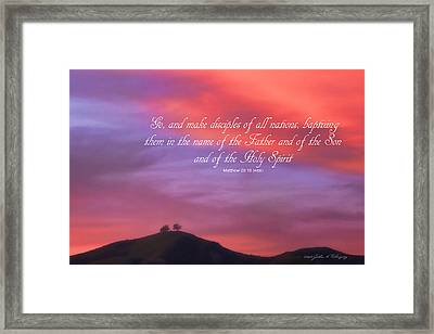 Framed Print featuring the photograph Ventura Ca Two Trees At Sunset With Bible Verse by John A Rodriguez