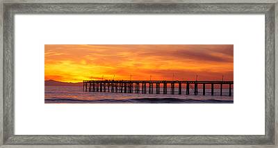 Ventura Pier And Pacific At Sunset Framed Print by Panoramic Images
