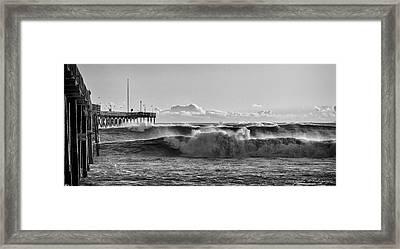 Framed Print featuring the photograph Ventura Pier El Nino 2016 by John A Rodriguez