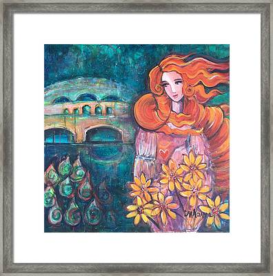 Framed Print featuring the painting Venus And Sunflowers by Laurie Maves ART