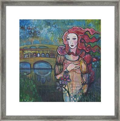 Venus And The Ponte Vecchio  Framed Print
