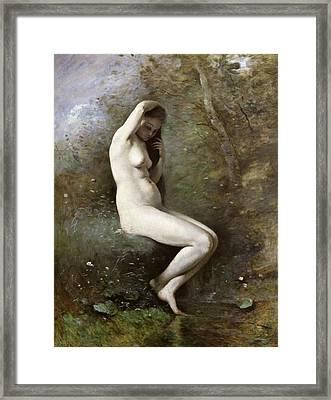 Venus Bathing Framed Print by Jean Baptiste Camille Corot