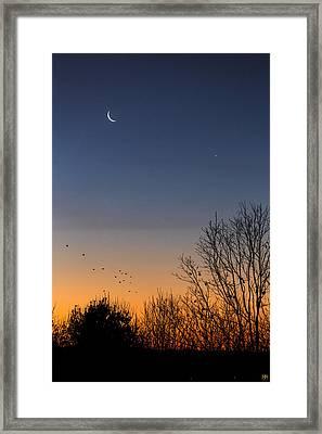 Venus, Mercury And The Moon Framed Print