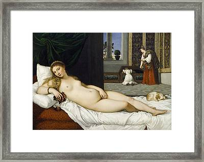 Venus Of Urbino Before 1538 Framed Print by Tiziano Vecellio