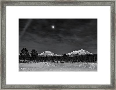 Framed Print featuring the photograph Venus Over Three Sisters by Cat Connor