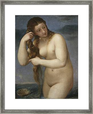 Venus Rising From The Sea Framed Print by Titian