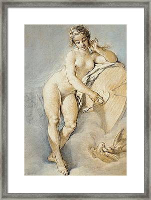 Venus Standing, Gesturing Towards A Heart On A Target With Two Doves Framed Print