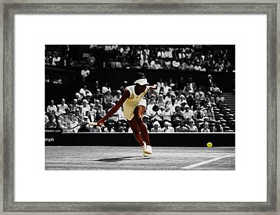 Venus Williams In Pursuit Framed Print by Brian Reaves