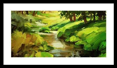 Creek Bank Framed Prints