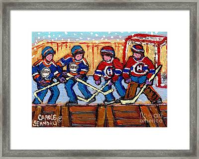 Verdun Hockey Rink Paintings Edmonton Oilers Vs Hometown Habs Quebec Hockey Art Carole Spandau       Framed Print by Carole Spandau