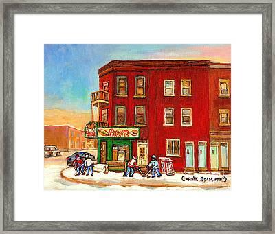 Verdun Montreal Painting Pierrette Patates Winter Street Hockey Canadian Painting Carole Spandau     Framed Print
