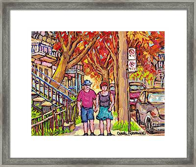 Verdun Street Early Autumn Treescape Painting Couple Strolls Montreal Quebec Art Carole Spandau Framed Print