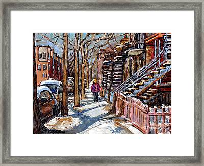 Verdun Winter Street Scene Painting Blond Girl With Pink Coat Montreal Staircase Canadian Art Framed Print