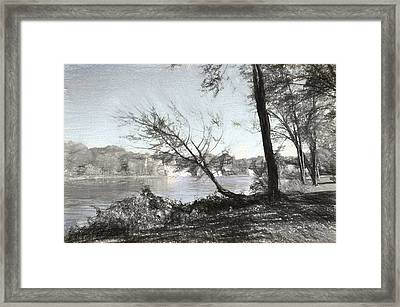 Vergennes Falls Digital Charcoal Framed Print