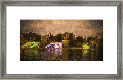 Vergennes Falls Lit Up Framed Print