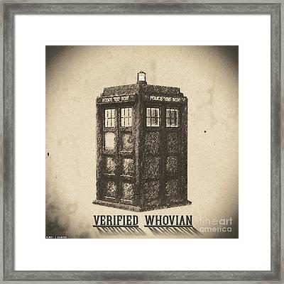 Verified Whovian Framed Print by Robert Radmore