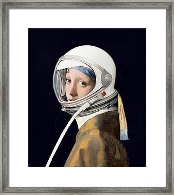 Vermeer - Girl In A Space Helmet Framed Print by Richard Reeve