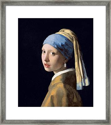 Vermeer - Girl With A Razor Blade Framed Print by Richard Reeve