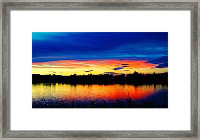 Framed Print featuring the photograph Vermillion Sunset by Eric Dee