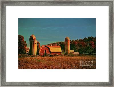 Framed Print featuring the photograph Vermont Autumn Barn by Deborah Benoit