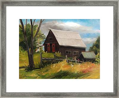 Vermont Barn Framed Print by Nancy Griswold