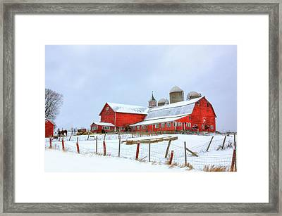 Framed Print featuring the digital art Vermont Barn by Sharon Batdorf