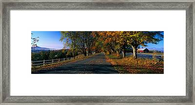 Vermont Country Road In Autumn Framed Print