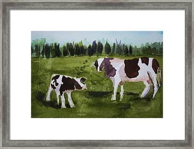 Framed Print featuring the painting Vermont Cow And Calf by Donna Walsh